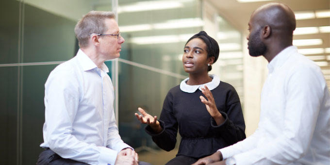 Professionals in discussion