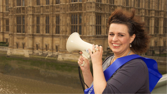 cancer campaigner with magaphone