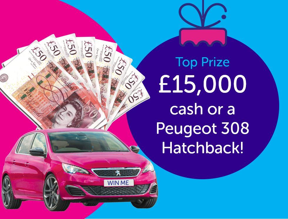 Image advertising a top prize of £15000 or a Peugeot 308 Hatchback
