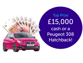 Picture of car and cash prizes