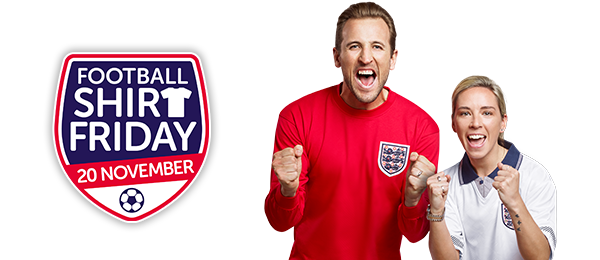 Football Shirt Friday banner with Harry Kane and Jordan Nobbs