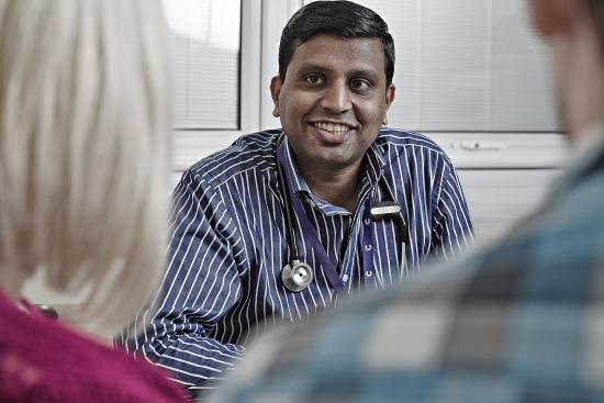 Doctor with patients