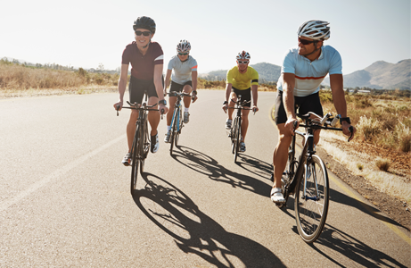 Group of cyclists taking on a charity bike ride