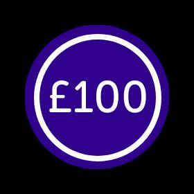 Sticker that says £100