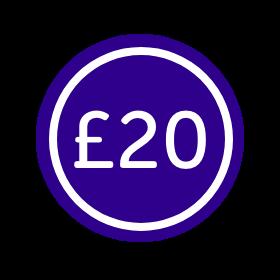 Sticker that says £20