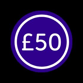 Sticker that says £50
