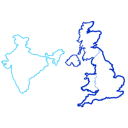 map of India and map of UK