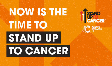 'It's time to beat cancer, are you in?' text on orange background, alongside Stand Up To Cancer logo