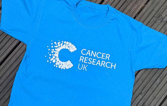 Cancer Research UK blue t-shirt