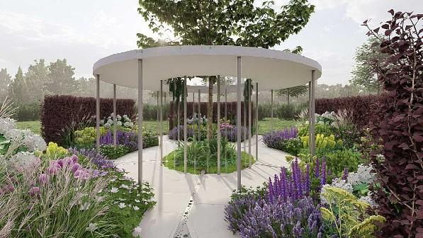A visual of the Cancer Research UK Legacy Garden at RHS Tatton Park 2021