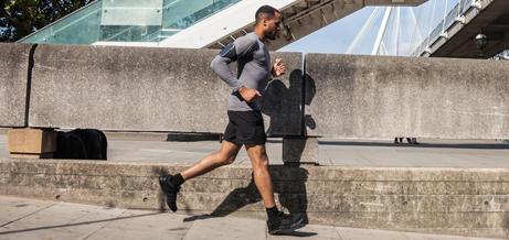 Man running in urban area.