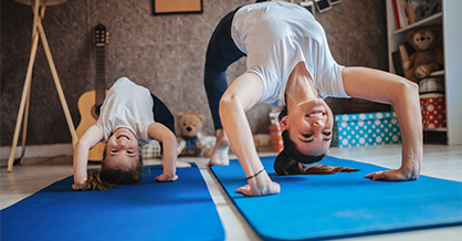 mother and kid yoga