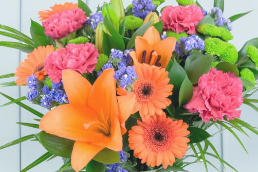 A brightly-coloured bouquet of flowers with germinis, carnations, lily la orange, chrysanthemums, and blue Statice