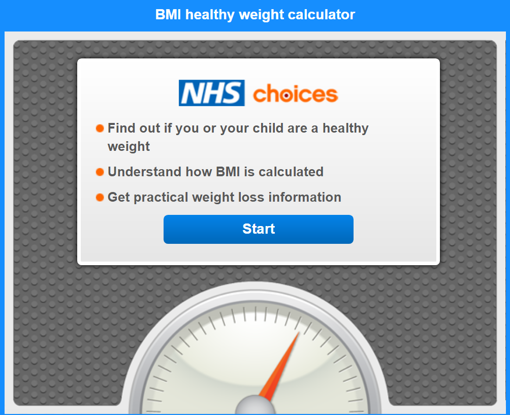 Weighing scale with nhs choices on it