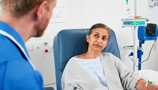 Female patient receiving treatment
