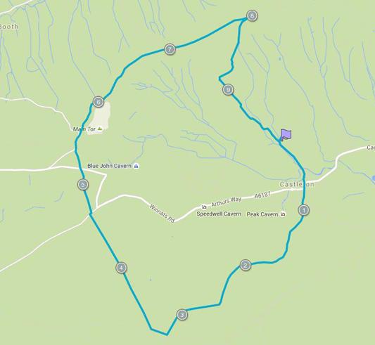 Course map for Tough 10 Peak District