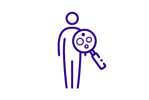 Icon of person with magnifying glass