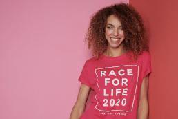 A model wearing a Race for Life 2020 t-shirt