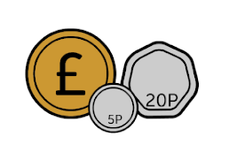 An illustration of a £1 coin, a 20p coin, and a 5p coin.