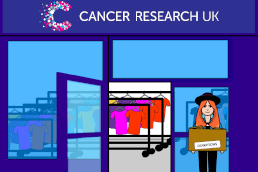 An illustration of a customer taking a box of donations to a Cancer Research UK shop.