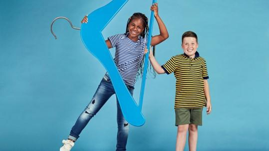 Rhys and Nengi in our Give Up Clothes For Good campaign, in partnership with TK Maxx