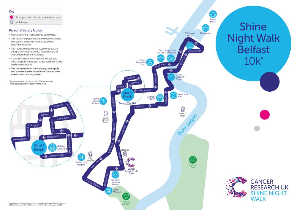 Shine Night Walk 2021 Belfast Map