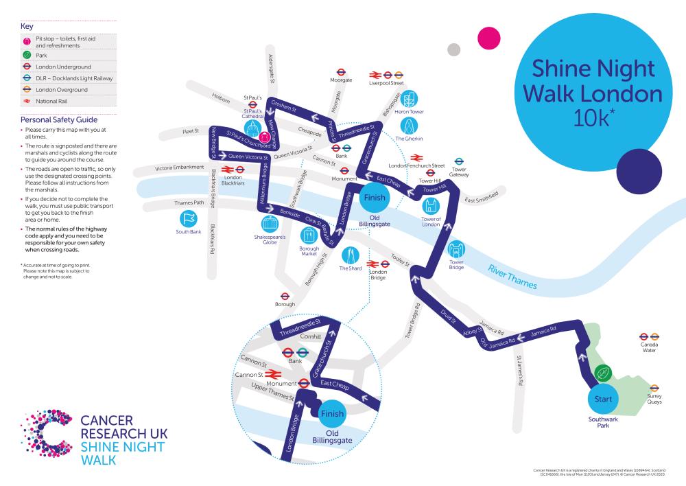Shine Night Walk 2021 London 10k Map