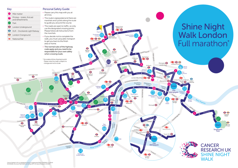 Shine Night Walk 2021 London Full Marathon Map