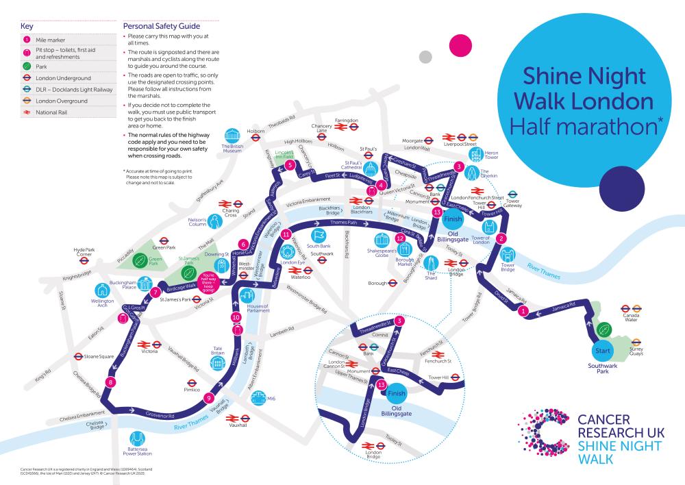 Shine Night Walk 2021 London Half Marathon Map
