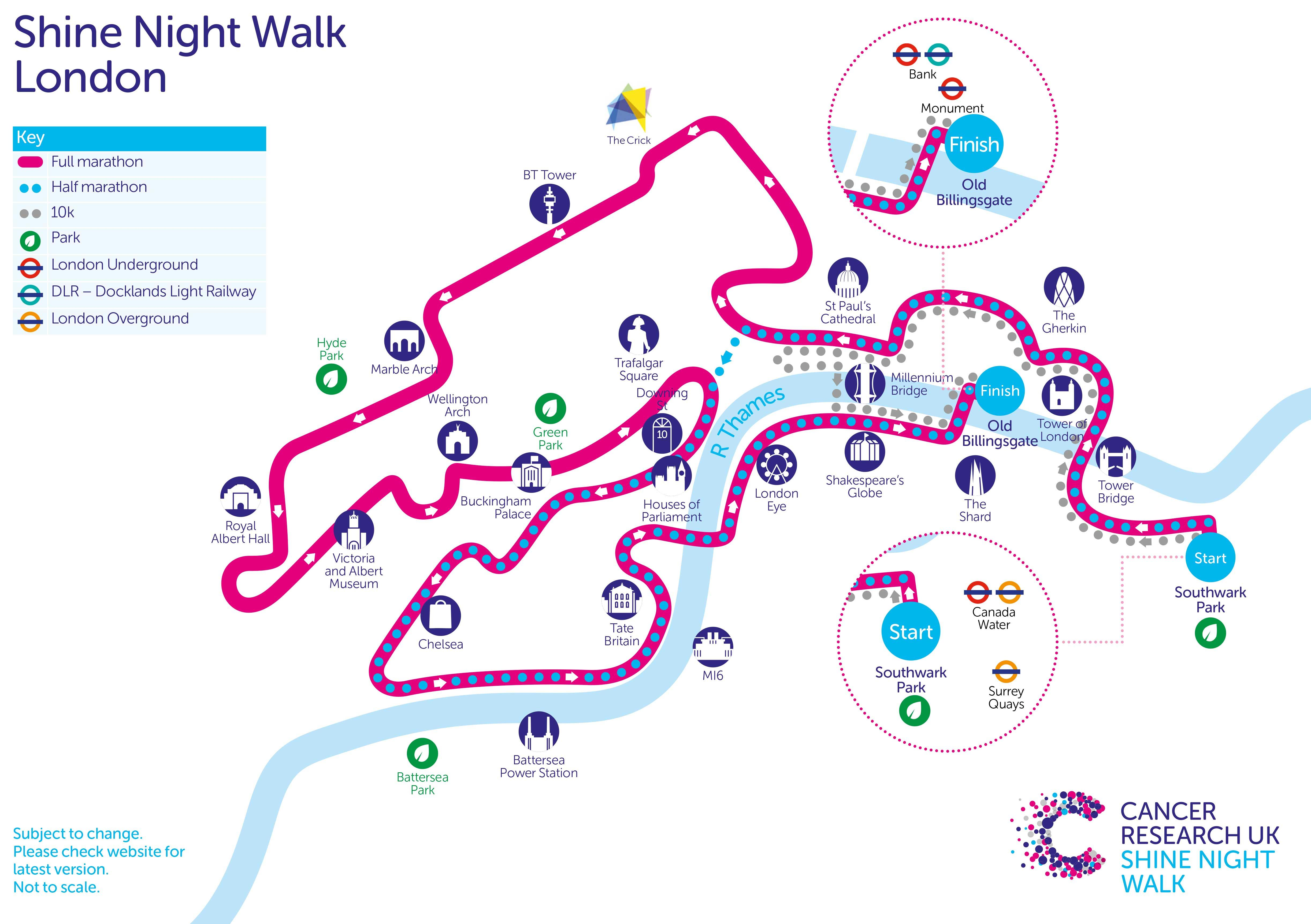 Shine Night Walk London | Cancer Research UK on map a path, map a drive, map a course, map a run, map a cut, map a distance, map a process,