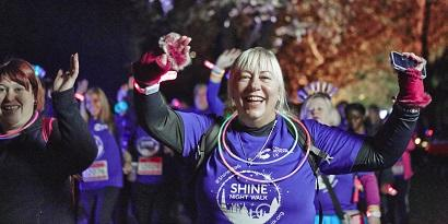 A supporter taking part in Shine Night Walk