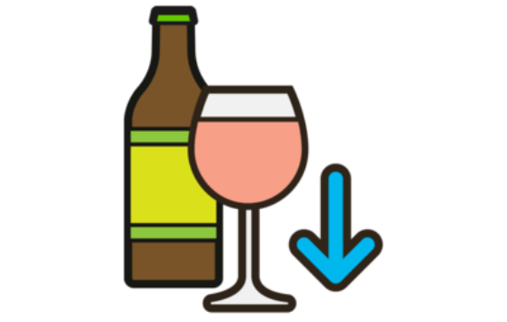 An illustration of cutting down on alcohol