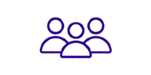 Blue icon of three people