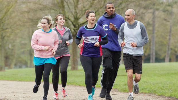 Fundraisers doing a sponsored run