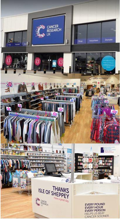 image front of superstore, image of inside of superstore and image of our till in sheppey superstore