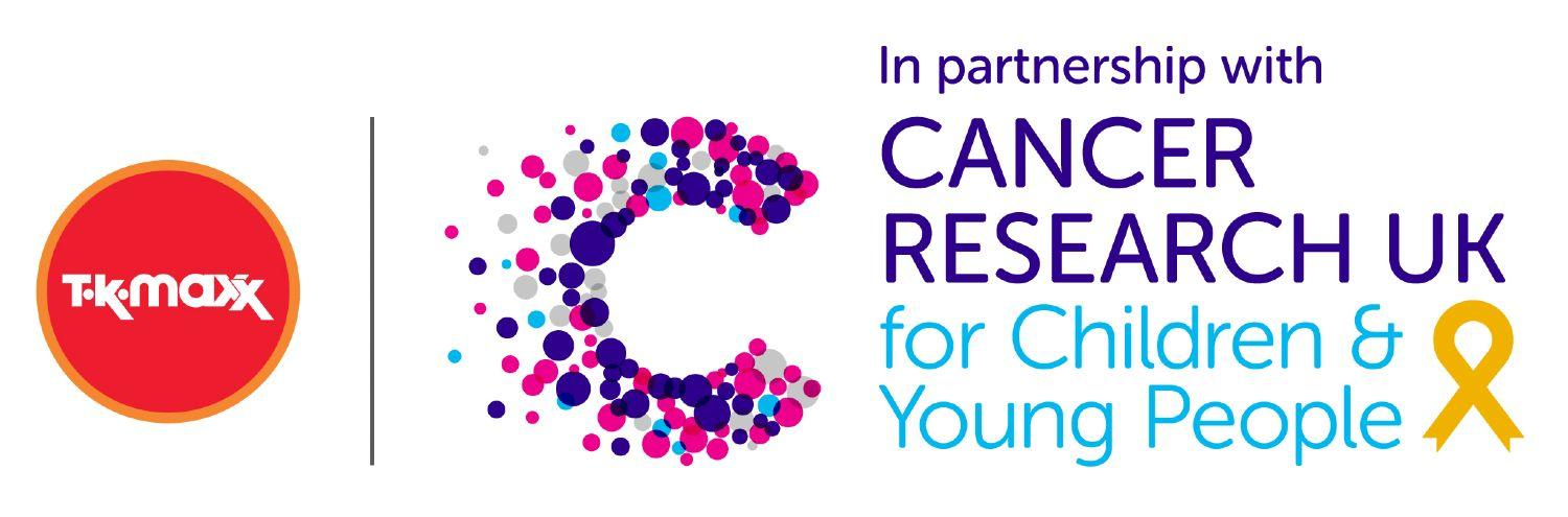 TK Maxx in partnership with Cancer Research UK for Children & Young People logo