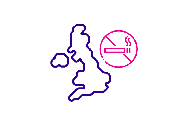 Icon of UK with stop smoking sign