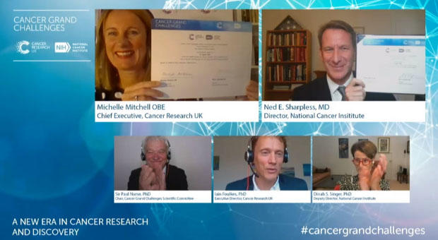 Cancer Grand Challenges virtual launch event screenshot
