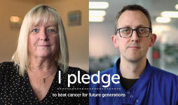 Val, a CRUK pledger and Ed, a researcher