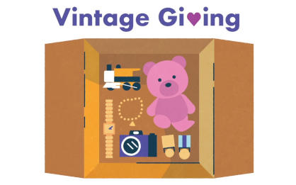 An illustrated cardboard box filled with a vintage toy train, teddy bear, watch, jewellery, camera and medals.
