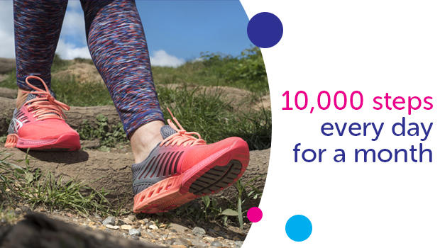 10,000 steps a day for one month.