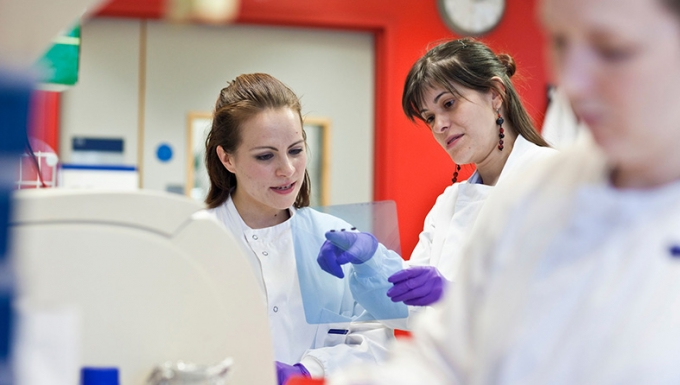 Two researchers discussing an experiment