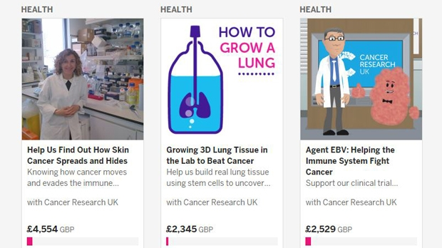 Cancer Research UK crowdfunding projects