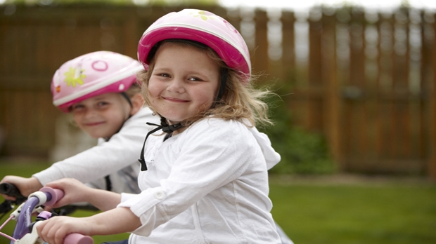 A picture of Katie cycling
