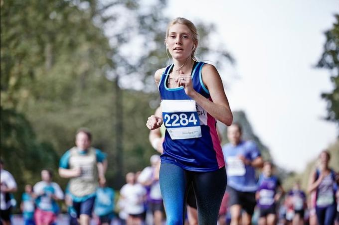 Cancer Research UK runner at Royal Parks Half Marathon