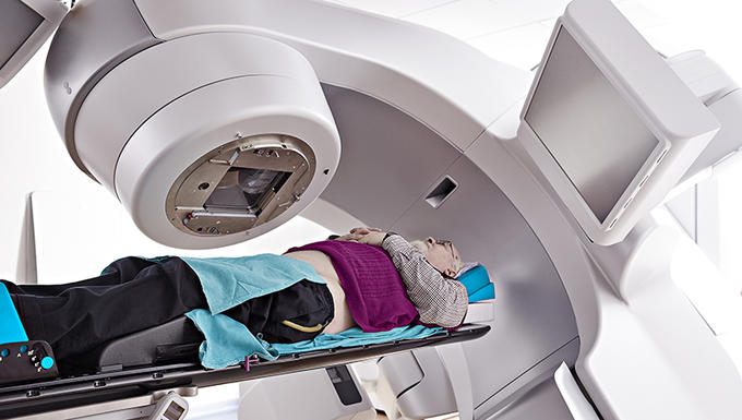 Person undergoing radiotherapy