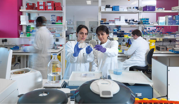 Two scientists studying a petri dish in a lab