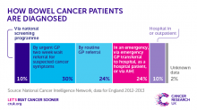 The route to diagnosis for bowel cancer NCIN data set January 2016