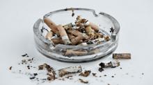 Ash tray of cigarettes