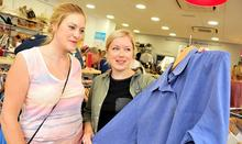 Two women/friends Clothes shopping, CRUK Shop, Birmingham. © It's Your Day Ltd, Sean Dillow